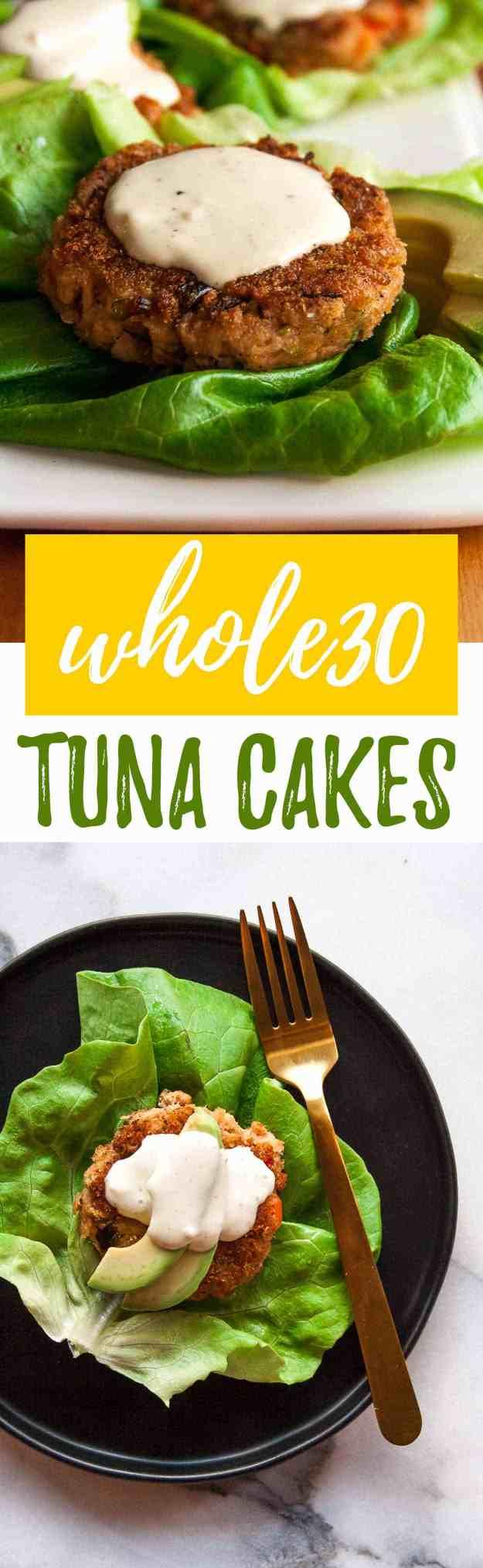 Whole30 Tuna Cakes with Lemon-Garlic Aioli | #whole30 #easy #recipe #healthy #lowcarb #paleo #glutenfree | hungrybynature.com