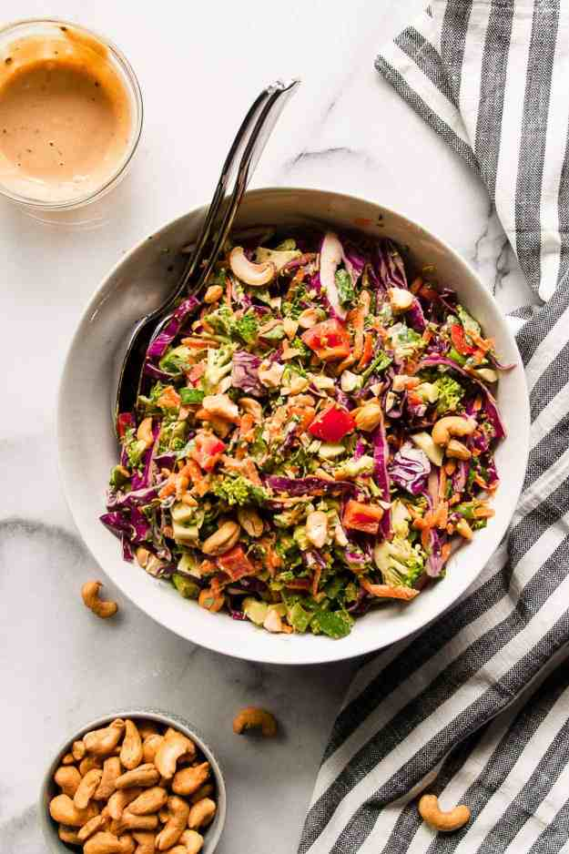 Chopped Thai Broccoli Salad with Thai Cashew Dressing | #whole30 #septemberwhole30 #choppedsalad #broccolisalad #healthy #recipes #dressing | hungrybynature.com