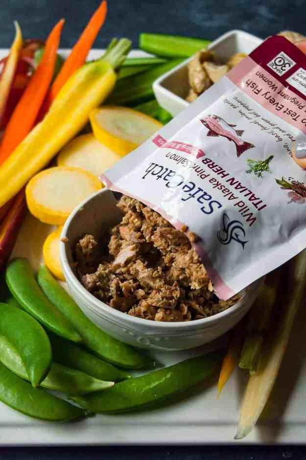 Crudite Platter with Marinated Salmon Spread | #ad #thanksgiving #cruditeplatter #safecatchfoods #salmonspread #glutenfree #dairyfree #paleo #holidayrecipes | hungrybynature.com
