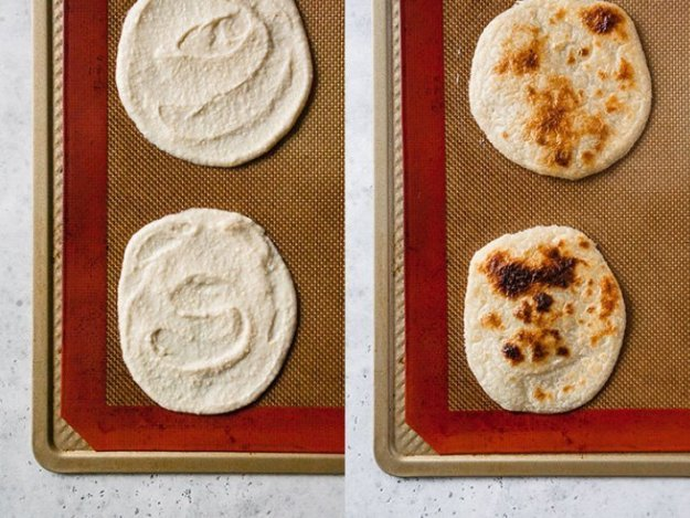 overhead side by side shots of almond flour tortilla dough before and after it is broiled