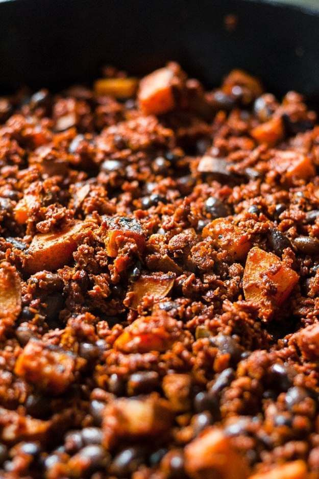 lodge cast iron pan filled with the vegan and vegetarian soy chorizo recipe filling