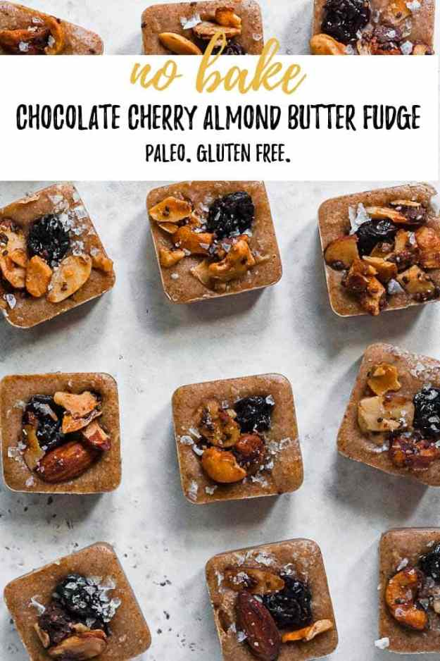 chocolate cherry almond butter fudge with text overlay