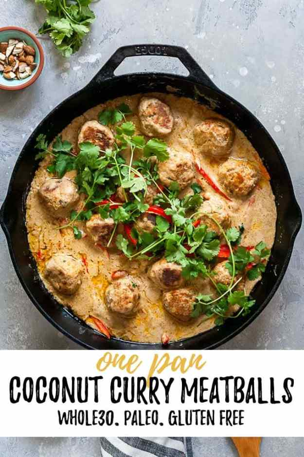 One Pan Coconut Curry Pork Meatballs with text overlay