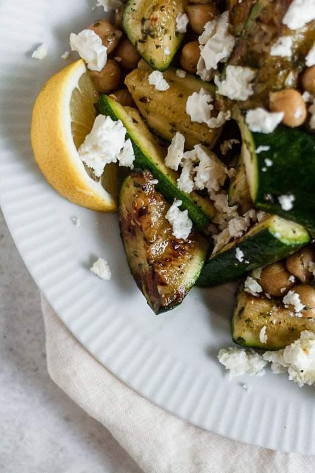 close up of mediterranean grilled zucchini salad