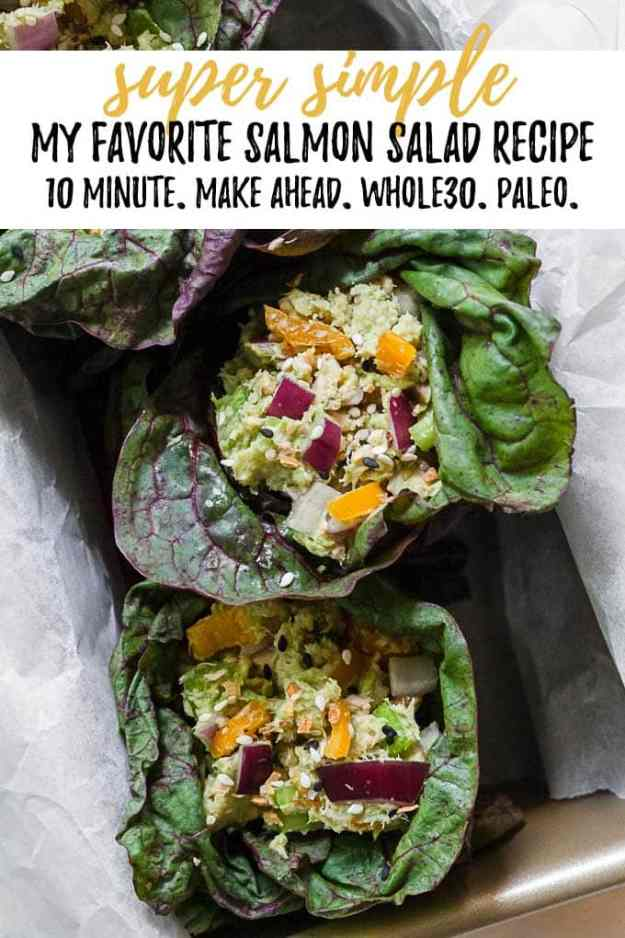 salmon salad in lettuce wraps with text overlay