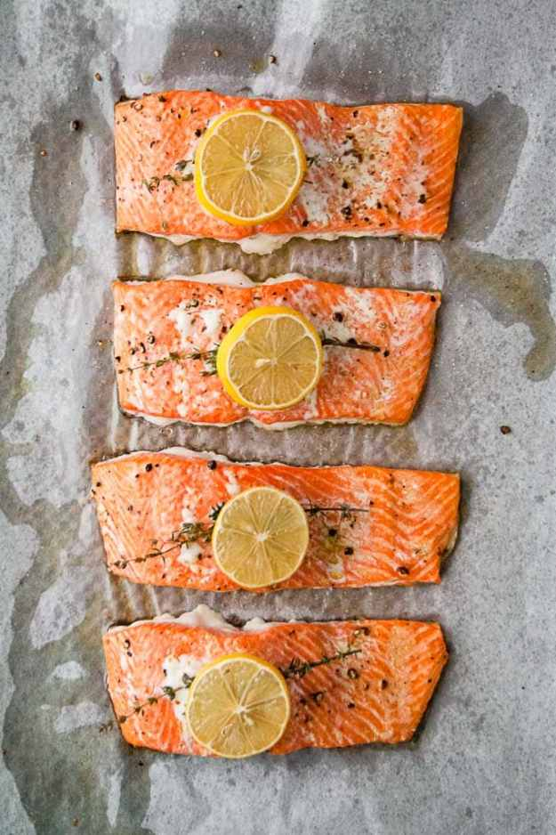 overhead shot of whole30 lemon salmon recipe on a sheet pan