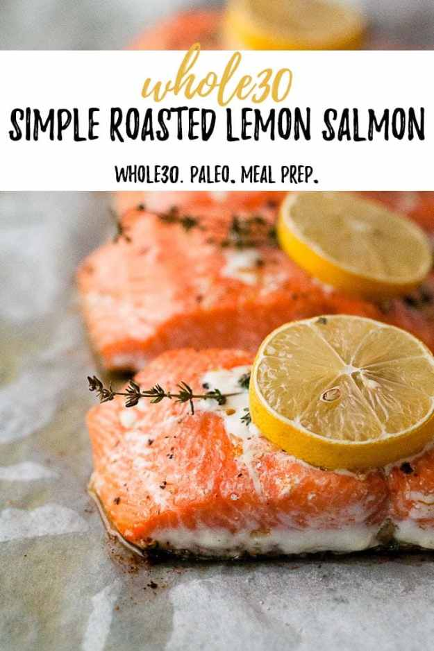 whole30 simple roasted lemon salmon on a sheet pan with text overlay