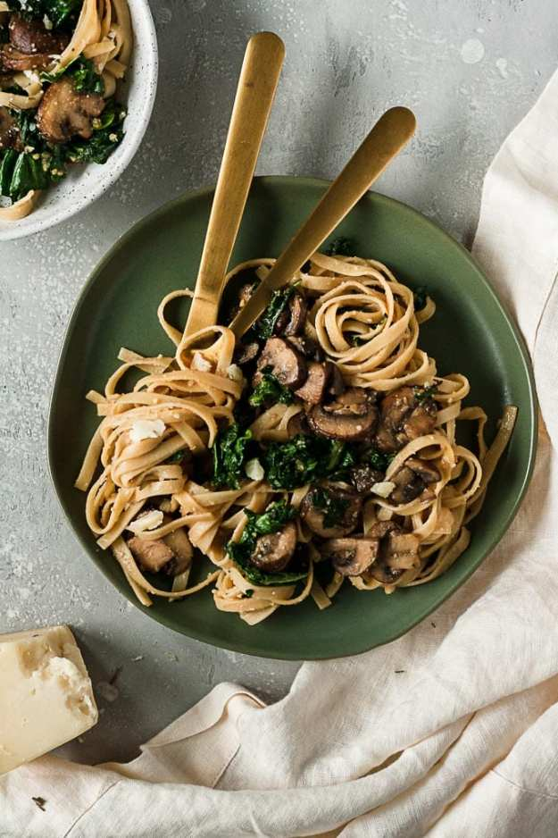 miso mushrooms date night pasta plated