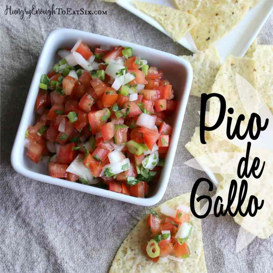 Here is the simplest of salsas: Pico de Gallo. Six ingredients chopped and tossed together.