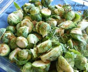 Brussel sprouts tossed with rosemary and minced garlic, and then a sprinkle of brown sugar for some sweetness! This recipes succeeds in reinventing the Brussel sprouts of my youth. Roasting the sprouts makes for a savory and delectable dish.