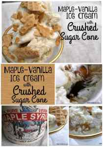 I came up with this dessert to honor that maple creemee flavor. I added real Vermont maple syrup to vanilla ice cream, twice.