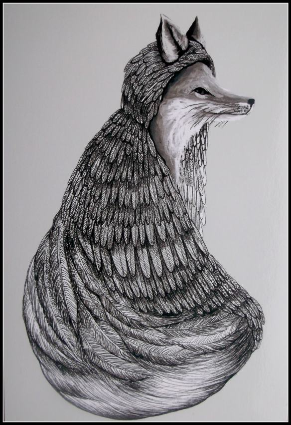 Fox in cloak, by Jess Polanshek, Polanshek.com