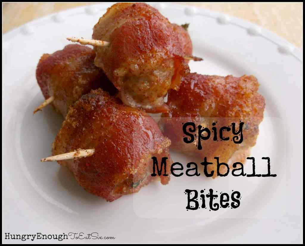 Spicy Meatball Bites on HungryEnoughToEatSix.com