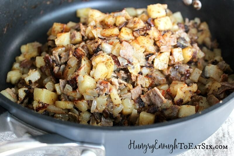 Diced potatoes, onion and roast beef: it's Who Hash, and part of today's Cinematic Christmas Feast!