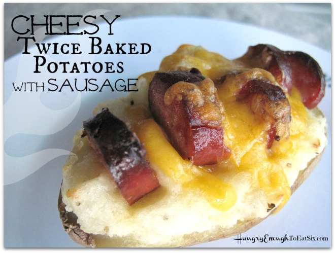 Cheesy Twice Baked Potatoes with Sausage is Main Dish recipe, with 6 ingredients of course! The cooked potato is mashed with cream and butter, spooned back into the shells, and topped with slices of smoked sausage. Melted Cheddar cheese on top seals the deal!