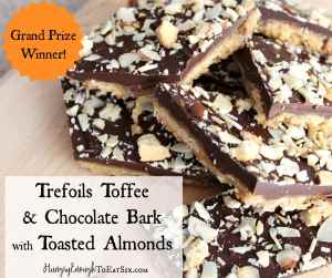 Grand Prize Winner of the 2016 Girl Scouts National Cookie Recipe Contest! A sweet and indulgent candy. Girl Scouts Trefoil Shortbread Cookies are paired with a thick toffee layer and chocolate.