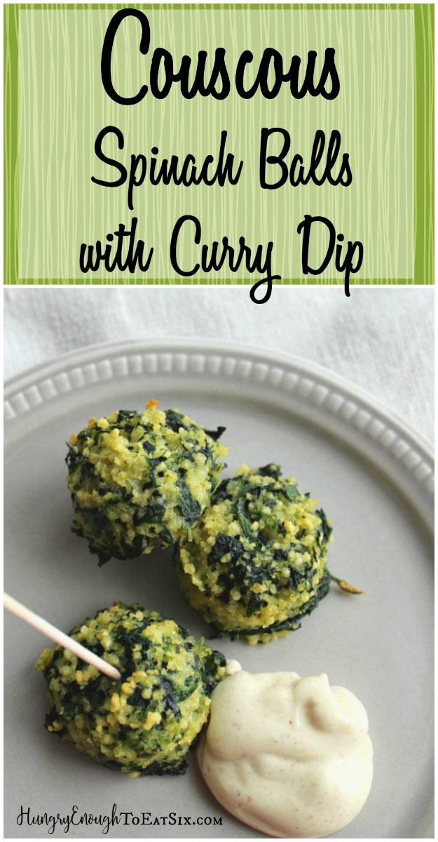 A savory bite-sized appetizer combined saffron-scented couscous with spinach, and a curried dip.
