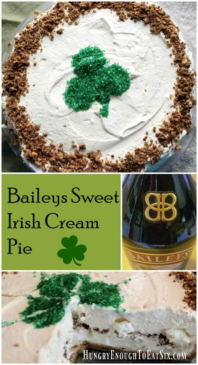 This sweet Baileys Irish Cream Pie has a crunchy and sweet cookie crust and a rich filling of Baileys and marshmallow.