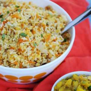 http://www.frieddandelions.com/coconut-carrot-rice/