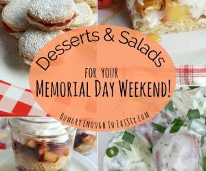 Desserts + Salads for your Memorial Day Weekend! Gathered here for you are some tasty ideas for drinks, salads and sweet desserts to complete your cookout.