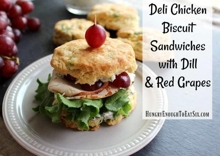 Deli Chicken Biscuit Sandwiches with Dill & Red Grapes, featuring McKenzie Natural Artisan Deli
