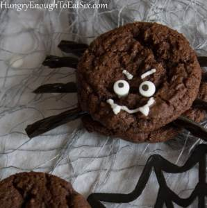 Have a delicious spider sandwich! Sandwich cookie, that is. They're made with chocolaty cookies and raspberry jam!