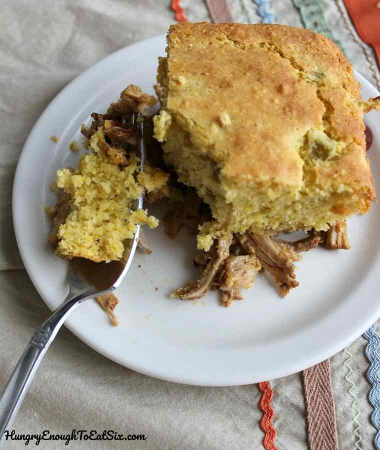 Savory Shredded Pork & Cornbread Pie