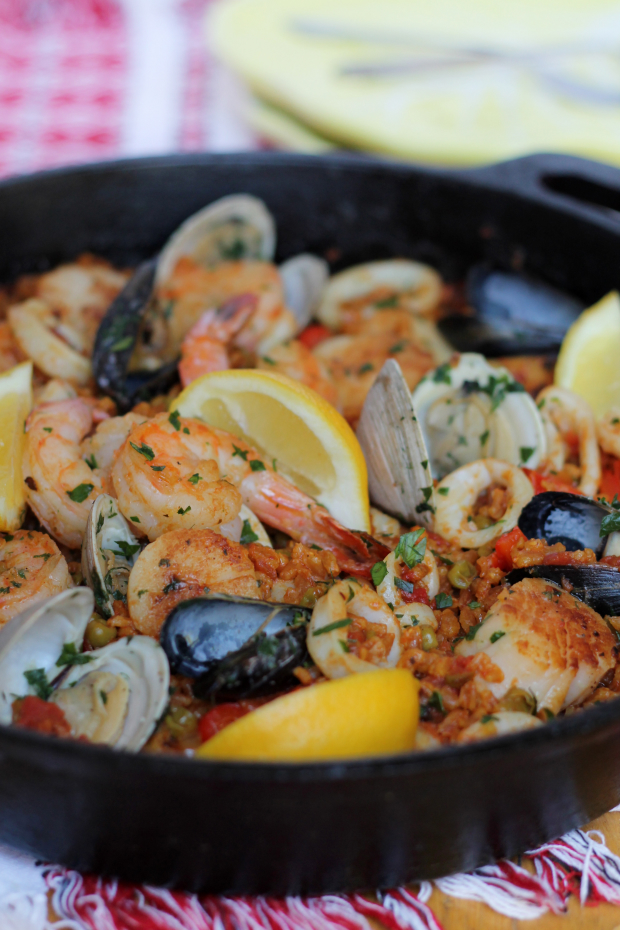 Farro Seafood Paella - incredibly flavorful!