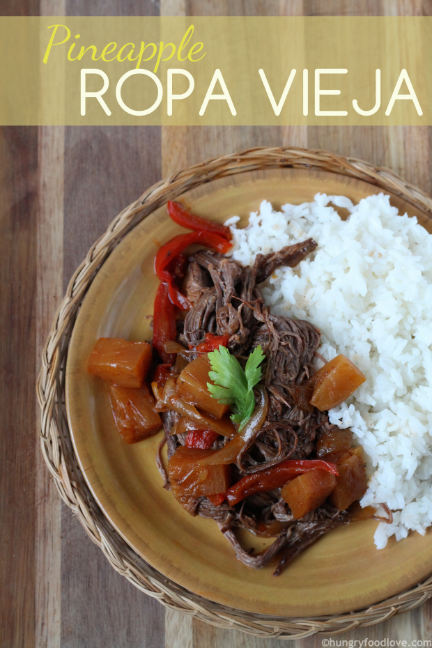 Pineapple Ropa Vieja (Delicious Pineapple slow cooker Shredded Beef)