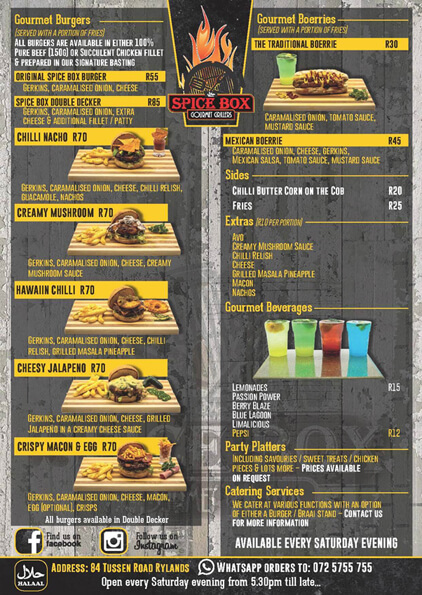 Spice Box Gourmet Burgers and Beverages Hungry for Halaal
