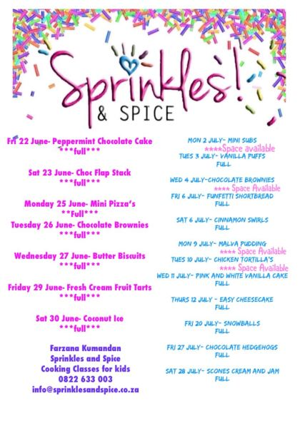 Sprinkles and Spice June holidays