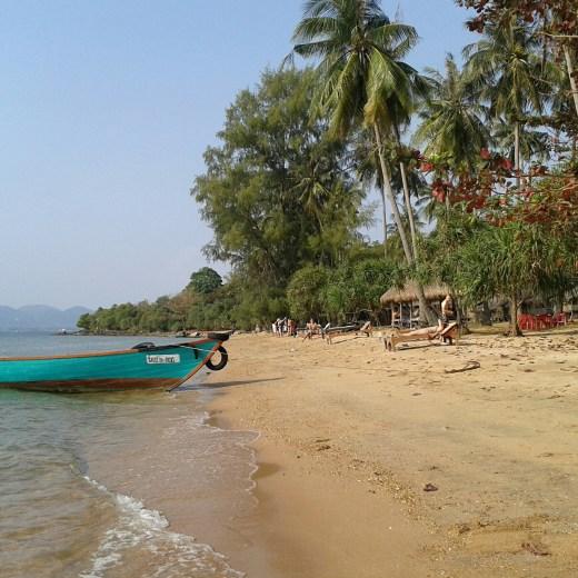 Strand mit Palmen und Boot