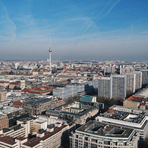 Blick auf Berlin vom Fesselballon aus