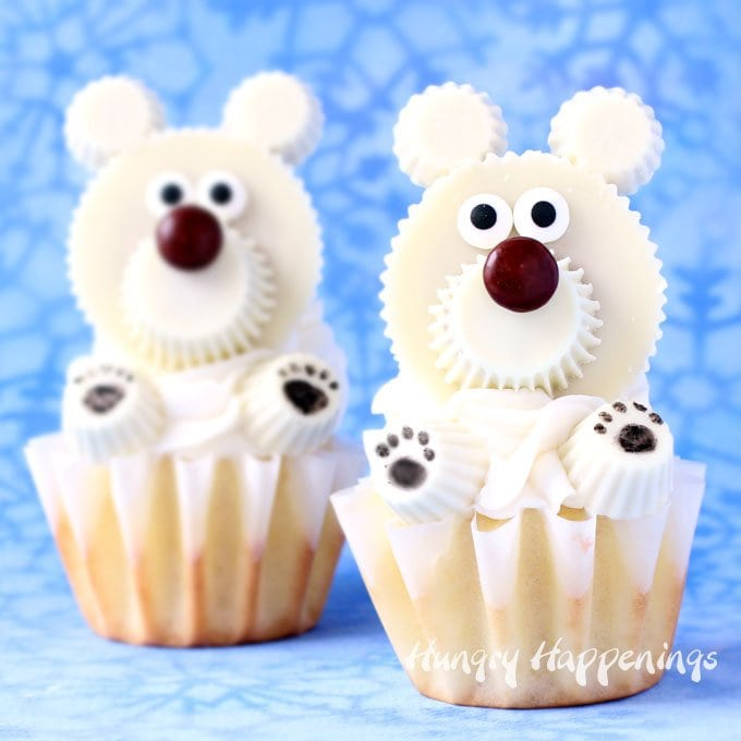 Polar Bear Cupcakes Made Using White Reeses Cups