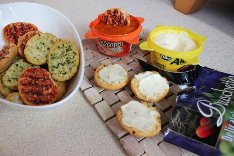 Party food mini bruschetta and aliolli