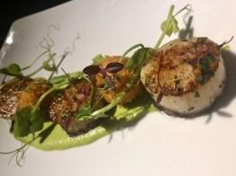 The Devon Doorway Heswall restaurant food menu scallops and lobster bonbons