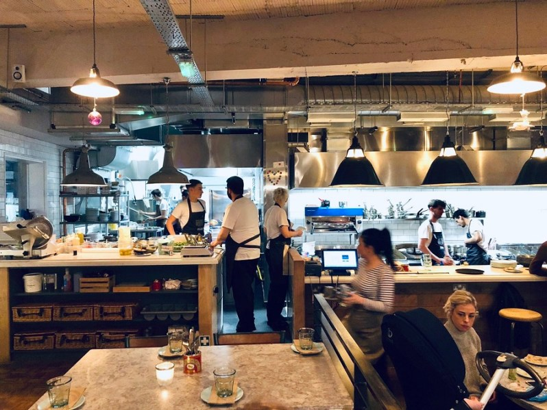 Open kitchen at Rocket and Ruby restaurant on Liverpool Castle Street
