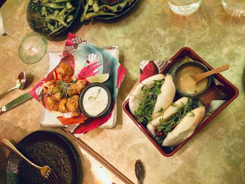 Crispy Squid and Duck Bao Bun at The Ivy Asia restaurant Manchester Spinningfields