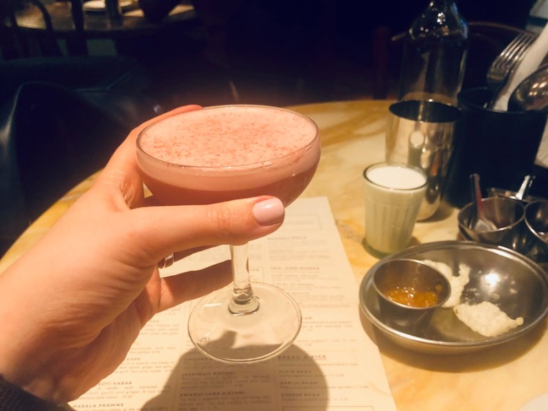 Pink cocktail at the Permit Bar from the Dishoom Manchester drinks menu