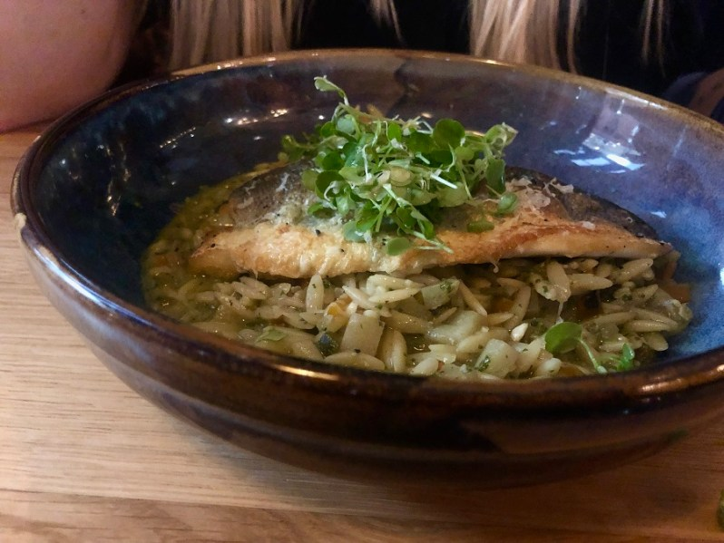 Pan fried sea bass and orzo off the food menu at Albert's Schenke Liverpool bar and restaurant