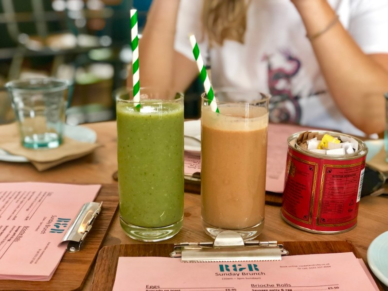 breakfast smoothies from the Rocket and Ruby brunch menu