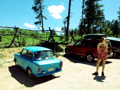 Not everything is bigger in America, a Trabant is stil tiny. This one made it up one of the most eroded dirt roads I've ever seen.