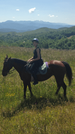 Karin on her horse that I have forgotten the name of