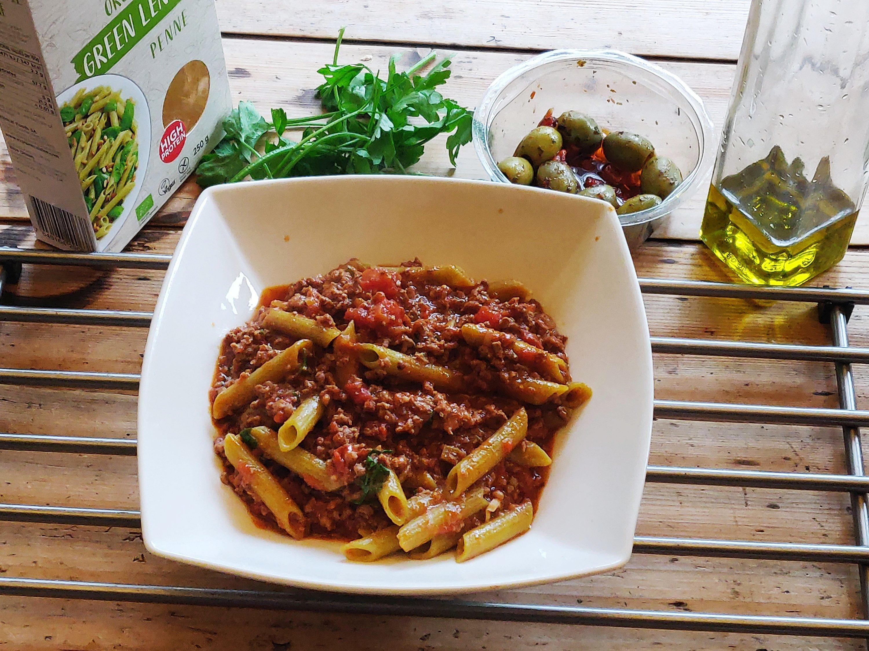 #GreenLentil #Pasta #Puttanesca #Beef Green Lentil Pasta Puttanesca with Beef