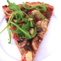 Vegan quinoa pizza crust with walnut/almond sheeze