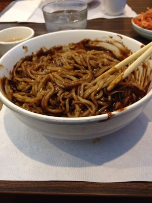 Jjajangmyeon after mixing