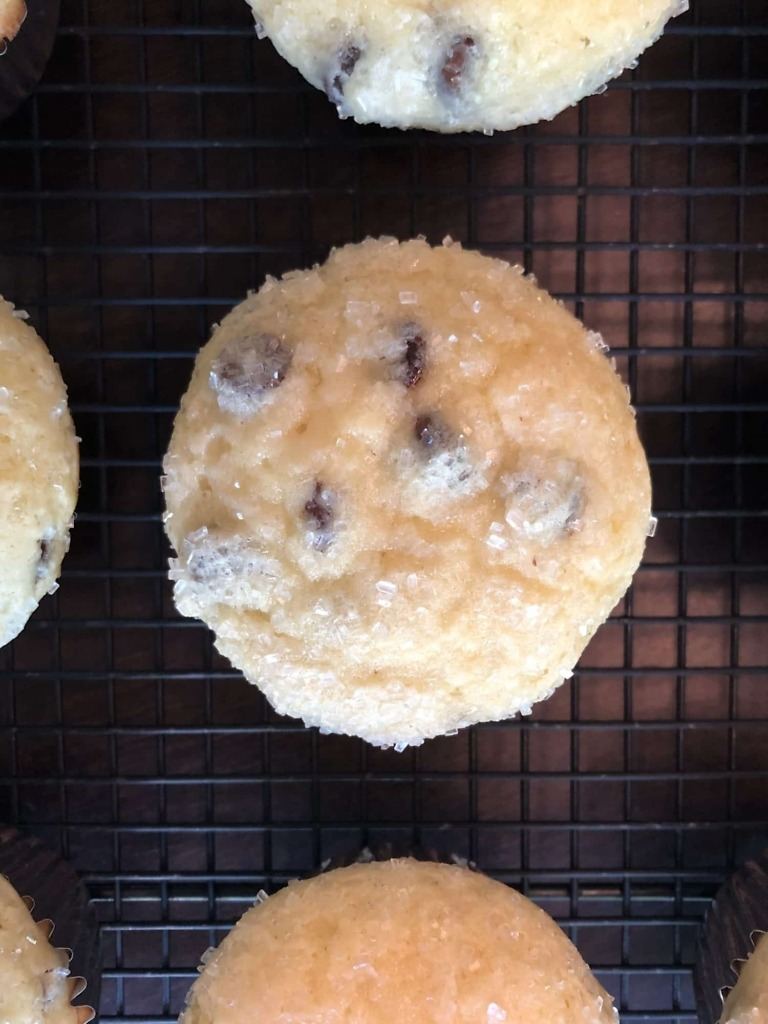 Homemade chocolate chips muffins topped with sparkling sugars