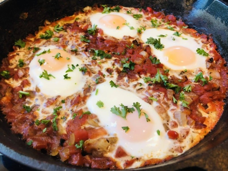 Skillet of eggs in purgatory