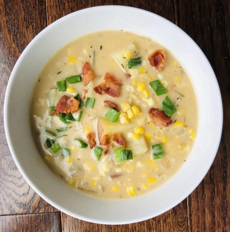 A bowl of summer corn chowder