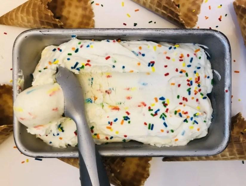 No Churn Cake Batter Ice Cream